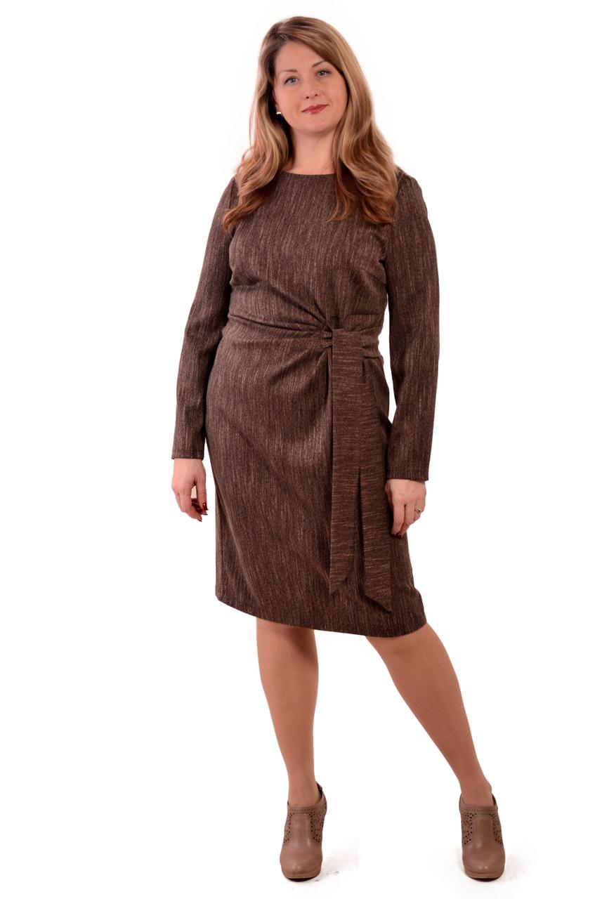 Платье терлое из твида с поясом и драпировкой для офиса пл 149-2