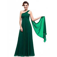 Зеленое вчернее платье на одно плече