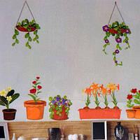 РАСПРОДАЖА! Виниловая наклейка - Вазоны и цветы