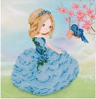 Схема для вышивки бисером Девочка с птичкой