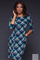 Модное  батальное платье с ромбами и клеткой, с карманами, цвет бутылка. Арт-9507/17