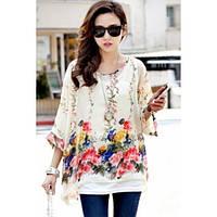 Элегантная просторная шифоновая блуза с цветами