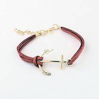 РАСПРОДАЖА! Кожаный браслет - Якорь