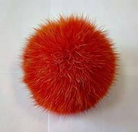 Бубон (помпон) оранжевый из натурального меха, диаметр 7-12 см