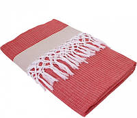 Тонкое полотенце 100х180 пештемаль Buldans Mercan красно-кофейный