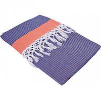 Тонкое полотенце 100х180 пештемаль Buldans Mercan оранжево-голубой