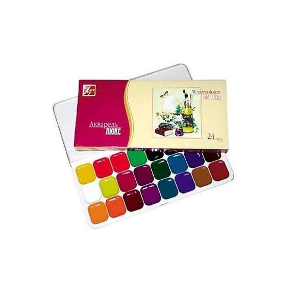 Краски акварель медовые Луч Люкс 14С1039-08, 24 цвета, б/кист.