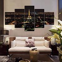 Модульная картина из 5 частей, ночной город, 180х100