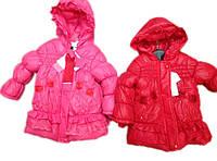 Детское пальто на меховой подкладке с розочками 1, 1,5, 2 года
