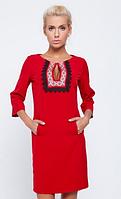 Платье c орнаментом красное