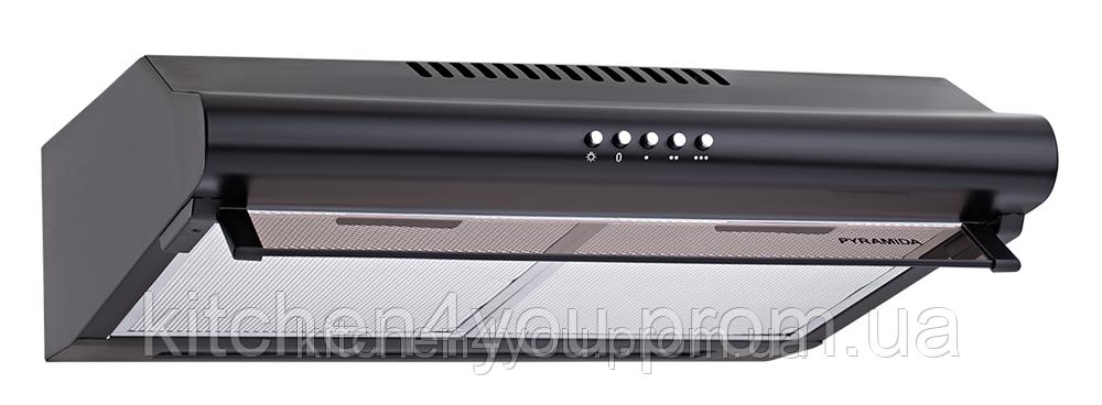 Pyramida WH 22-60 black/N (600 мм.) двухмоторная, плоская кухонная вытяжка, черная эмаль
