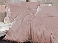Комплект постельного белья Nazenin Sare Pudra Сатин + Кружево 200*220