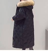 Зимний пуховик с натуральным мехом енота черный