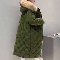 Зимний пуховик с натуральным мехом енота хаки