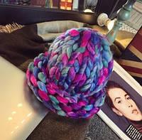 Женская шапка из крупной вязки Радуга фиолетовая
