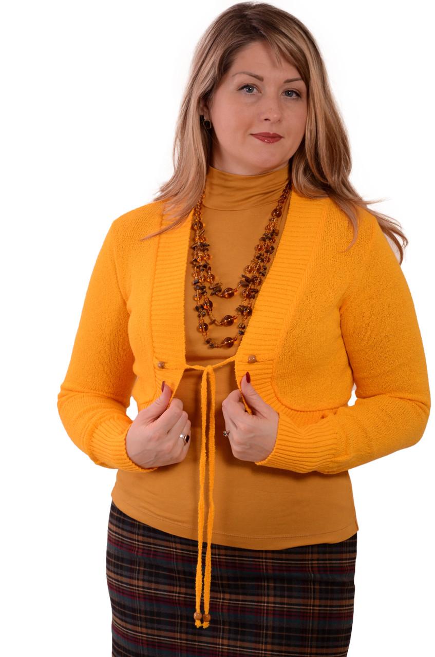 Вязанное болеро желтое из буклированной пряжи хлопок (БЛ 606047)