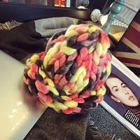 Женская шапка из крупной вязки Радуга коралловая, фото 1