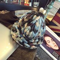 Женская шапка из крупной вязки Радуга серо-голубая