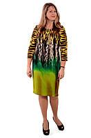 Платье женское теплое с тигровым принтом ,пл 058 размер 46- 54 пл р 50