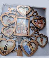 Коллаж 8 фотографий дерево сердечек