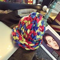 Женская шапка из крупной вязки Радуга мультиколор