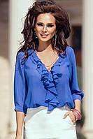 ТОР-95511 Блузка женская нарядная голубая шифоновая с рюшами