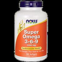 Омега 3-6-9 для улучшения работы мозга, Omega 3-6-9, Now Foods, 180 капсул