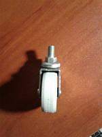 Колесо мебельное, поворотное резьбовое Ф М-10, резиновое, белое ( Ф-50 мм) 50*20, HTS Турция