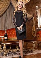 Вечернее Замшевое Платье с Гипюровыми Рукавами Черное M-2XL