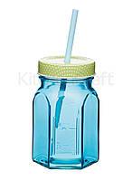 Кружка стеклянная с крышкой и трубочкой Kitchen Craft синяя 350 мл (632234-с)