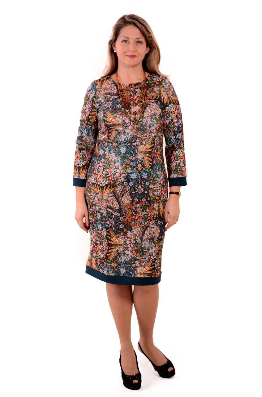 Платье женское голубое трикотажное большие размеры  теплое с длинным рукавом