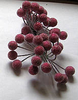 Тычинки для цветов  хрустальное покрытие  шарик темно-розовые