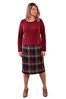 Платье костюм марсала бордо большие размеры на пышных дам женское нарядное теплое джерси пл  105-3