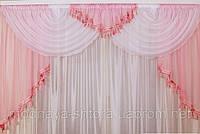 """Готовый ламбрекен """"Каприз"""" (розовый), 2м, фото 1"""