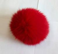 Бубон (помпон) красный из натурального меха на цепочке, диаметр 7-12 см