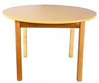 Детский деревянный столик с цветной круглой столешницей ваниль