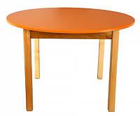 Детский деревянный столик с цветной круглой столешницей оранжевый