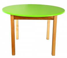 Детский деревянный столик с цветной круглой столешницей салатовый