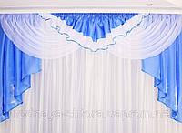 "Готовий ламбрекен ""Альберта"" атлас (блакитний), м 2, фото 1"