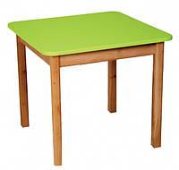 Детский деревянный столик цветной салатовый