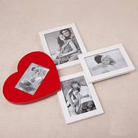 """Деревянный коллаж на 4 фото """"Сердце"""" 43х48см"""