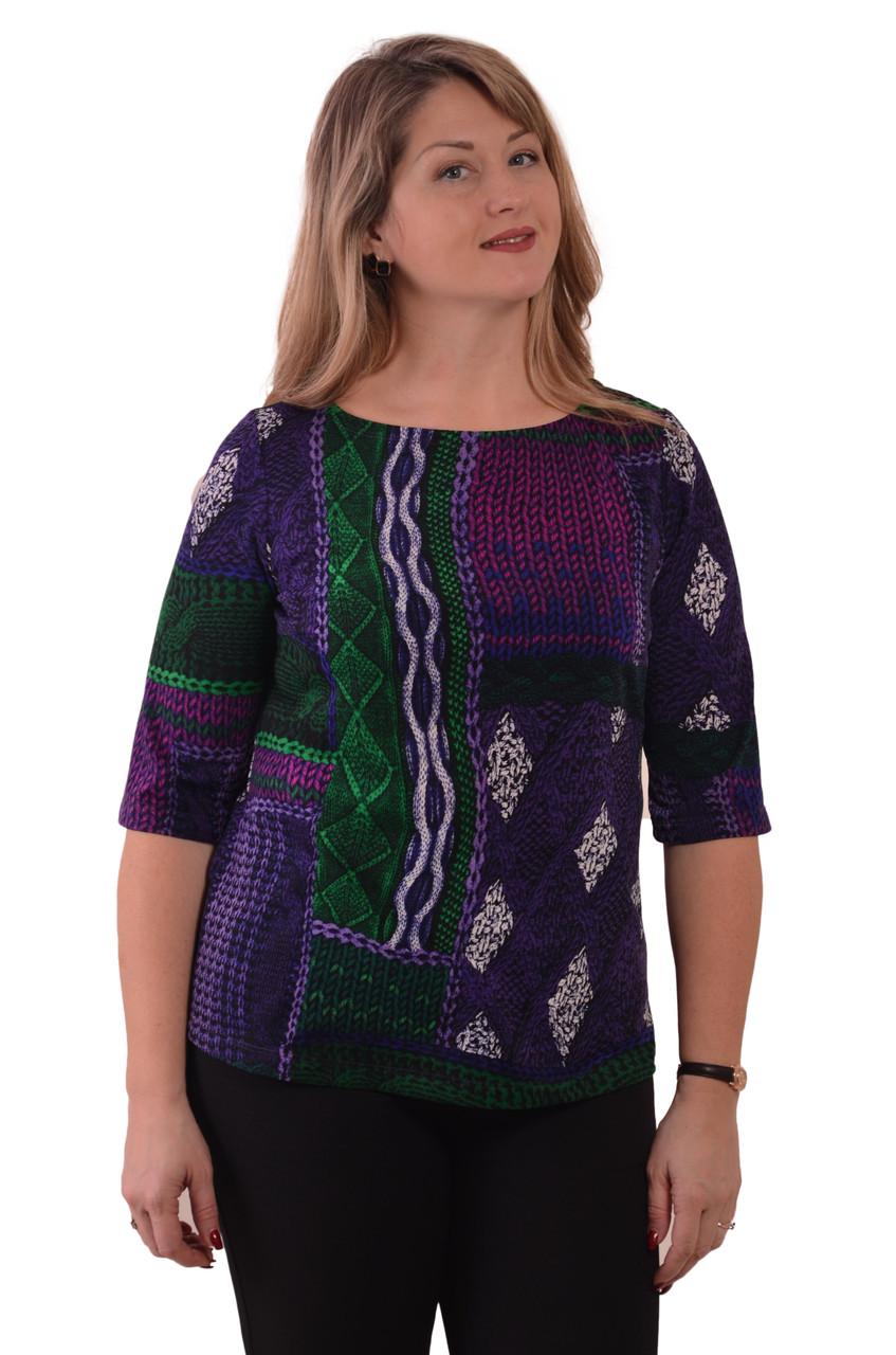 Блуза теплая лодочка фиолетовая ангора свитшот женский
