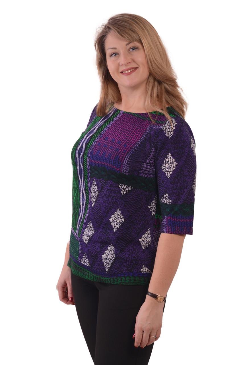 Блуза теплая вязаная лодочка фиолетовая ангора свитшот женский
