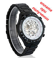 Мужские механические часы скелетон Winner Skeleton c автоподзаводом Black