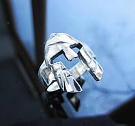 Кольцо Спарта в виде шлема из серебра 925 пробы