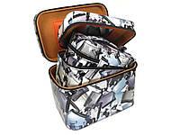 Шкатулка-бьютикейс для украшений и косметики с зеркалом Light grey CR-110-MD (размер M)