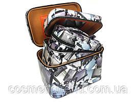 Шкатулка-бьютикейс для украшений и косметики с зеркалом Light grey CR-110-MD (размер M 20*12,5*14 см)