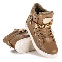 Зимние спортивные ботинки женские на шнурках с цепью