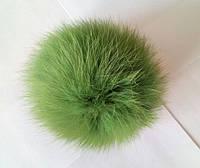 Бубон (помпон) светло-зеленый из натурального меха, диаметр 7-12 см, фото 1