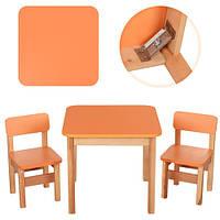 Деревянный детский столик со стульчиками Bambi, оранжевый